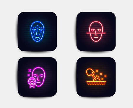 Neon set of Face biometrics, Face recognition and Skin moisture icons. Facial recognition, Faces biometrics, Access granted. Wet cream. Neon icons. Glowing light banners. Vector Illustration