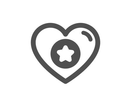 Heart and Star icon. Favorite like sign. Positive feedback symbol. Quality design element. Classic style icon. Vector