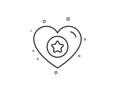 Heart and Star line icon. Favorite like sign. Positive feedback symbol. Geometric shapes. Random cross elements. Linear Heart icon design. Vector