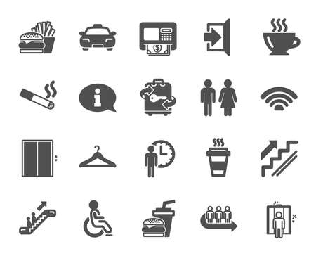 Public Services, Wifi icons. Elevator, Cloakroom and Taxi icons. Exit, ATM and Escalator. Wifi, Lift or elevator, Restaurant food. Public cloakroom, information, coffee and smoking. Vector
