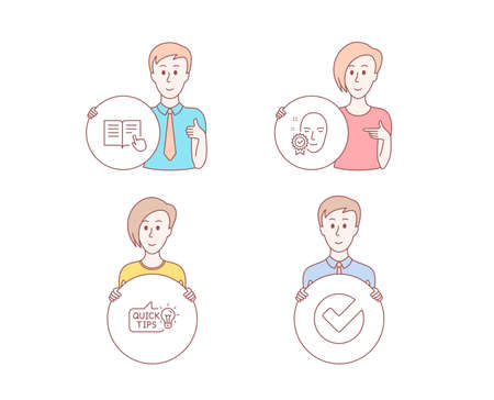 People hand drawn style. Set of Read instruction, Face verified and Education idea icons. Verify sign. Opened book, Access granted, Quick tips. Selected choice.  Character hold circle button. Vector Ilustração