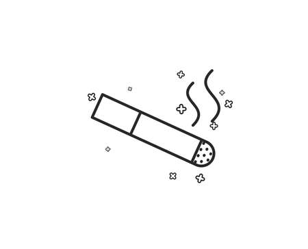 Smoking area line icon. Cigarette sign. Smokers zone symbol. Geometric shapes. Random cross elements. Linear Smoking icon design. Vector
