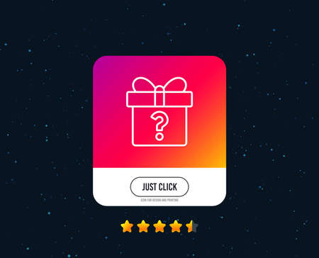Gift box with Question mark line icon. Present or Sale sign. Birthday Shopping symbol. Package in Gift Wrap. Web or internet line icon design. Rating stars. Just click button. Vector Stock Illustratie