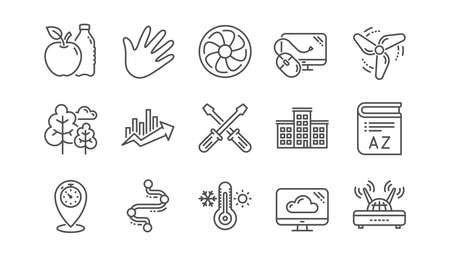 Timeline path, Fan engine and Profits chart line icons. Jet turbine, Wind energy and Cloud services. Linear icon set.  Vector