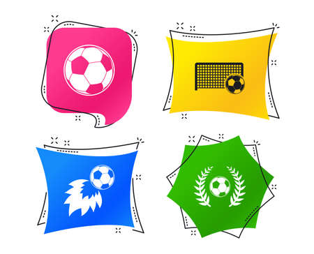 Football icons. Soccer ball sport sign. Goalkeeper gate symbol. Winner award laurel wreath. Goalscorer fireball. Geometric colorful tags. Banners with flat icons. Trendy design. Vector Stockfoto - 116300913