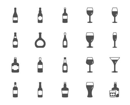 Wine bottle icons. Set of Craft beer, Whiskey and Wine glass icons. Champagne bottle, Alcohol drink and with ice. Wineglass, Beer glass and Restaurant goblet signs. Beverage drink. Vector Illustration