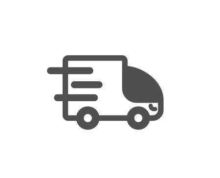 Truck delivery icon. Express service sign. Transportation symbol. Quality design element. Classic style icon. Vector Illustration
