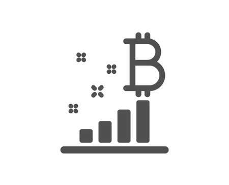 Bitcoin graph icon. Cryptocurrency analytics sign. Crypto money symbol. Quality design element. Classic style icon. Vector