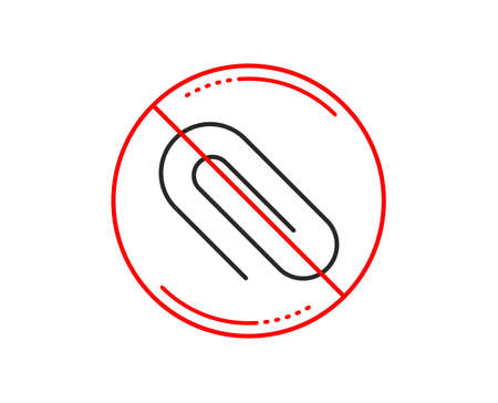 No or stop sign. Attach line icon. Attachment paper clip sign. Office stationery object symbol. Caution prohibited ban stop symbol. No  icon design.  Vector