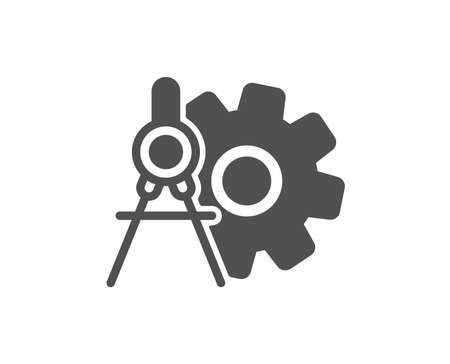 Cogwheel dividers icon. Engineering tool sign. Cog gear symbol. Quality design element. Classic style icon. Vector