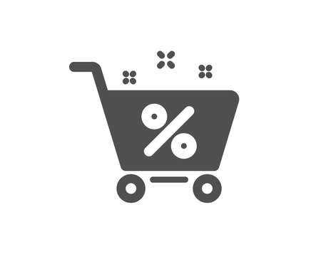 Loan shopping cart icon. Discount percent sign. Credit percentage symbol. Quality design element. Classic style icon. Vector