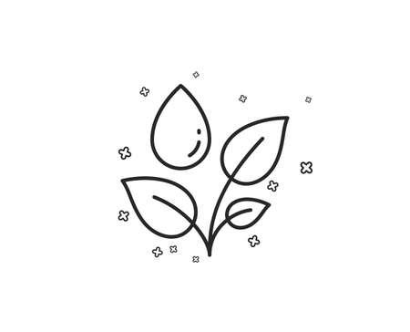 Plants watering line icon. Leaves dew sign. Environmental care symbol. Geometric shapes. Random cross elements. Linear Plants watering icon design. Vector