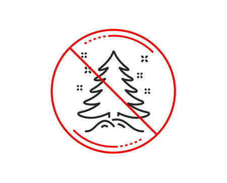 No or stop sign. Christmas tree present line icon. New year spruce sign. Fir-tree symbol. Caution prohibited ban stop symbol. No  icon design.  Vector 스톡 콘텐츠 - 116301770