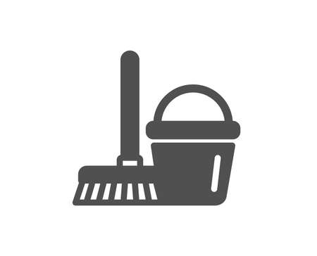 Cleaning bucket with mop icon. Washing Housekeeping equipment sign. Quality design element. Classic style icon. Vector Illustration