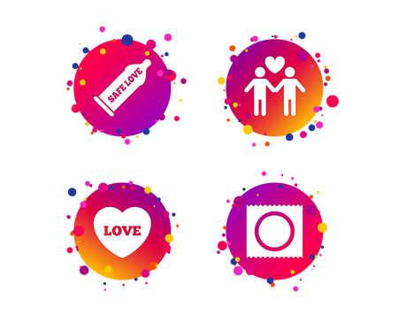 Condom safe sex icons. Lovers Gay couple signs. Male love male. Heart symbol. Gradient circle buttons with icons. Random dots design. Vector