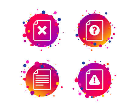 File attention icons. Document delete symbols. Question mark sign. Gradient circle buttons with icons. Random dots design. Vector