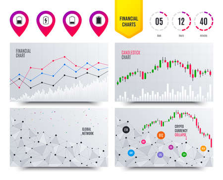 Financial planning charts. Battery charging icons. Electricity signs symbols. Charge levels: full, half and low. Cryptocurrency stock market graphs icons. Trendy design. Vector