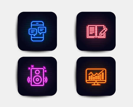 Neon glow lights. Set of Speakers, Phone messages and Feedback icons. Statistics sign. Sound, Mobile chat, Book with pencil. Financial report.  Neon icons. Glowing light banners. Vector