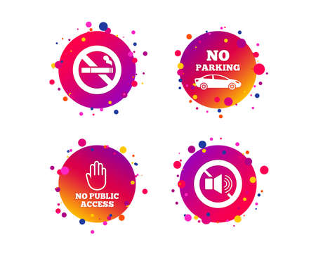 Stop smoking and no sound signs. Private territory parking or public access. Cigarette and hand symbol. Gradient circle buttons with icons. Random dots design. Vector