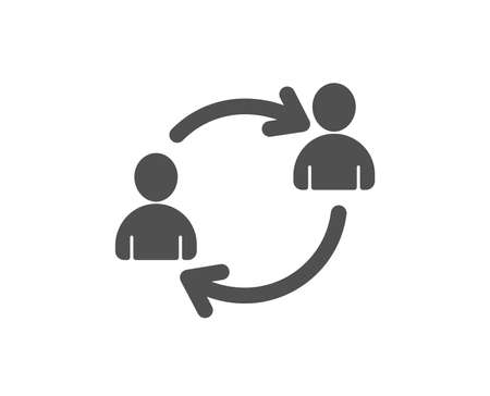 Teamwork icon. User communication or Human resources. Profile Avatar sign. Person silhouette symbol. Quality design element. Classic style icon. Vector