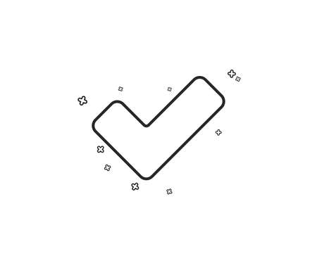 Check line icon. Approved Tick sign. Confirm, Done or Accept symbol. Geometric shapes. Random cross elements. Linear Tick icon design. Vector Illustration
