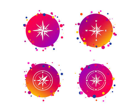 Windrose navigation icons. Compass symbols. Coordinate system sign. Gradient circle buttons with icons. Random dots design. Vector Vettoriali