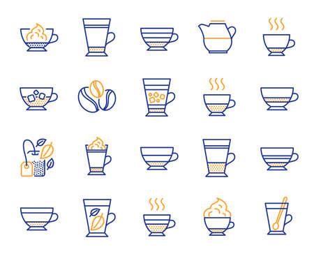 Types de café et icônes de thé. Ensemble d'icônes Latte, Frappe et Cappuccino. Espresso, Doppio et Café Crema. Americano, latte à la crème fouettée et café glacé. Café moka, tasses à thé à base de plantes, à la menthe. Vecteur Vecteurs