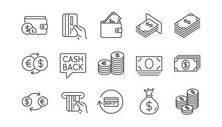 Money and payment line icons. Cash, Wallet and Coins. Account cashback linear icon set.  Vector Foto de archivo - 116301882