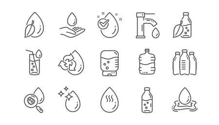 Icone della linea di goccia d'acqua. Bottiglia, Filtro antibatterico e Acqua del rubinetto. Insieme dell'icona lineare di acqua pulita. Vettore Vettoriali