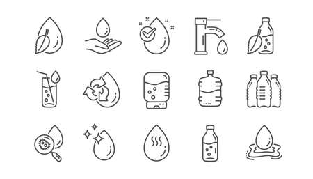 Water drop line icons. Bottle, Antibacterial filter and Tap water. Clean water linear icon set.  Vector