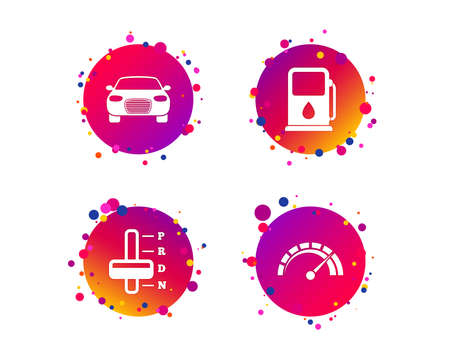 Transport icons. Car tachometer and automatic transmission symbols. Petrol or Gas station sign. Gradient circle buttons with icons. Random dots design. Vector