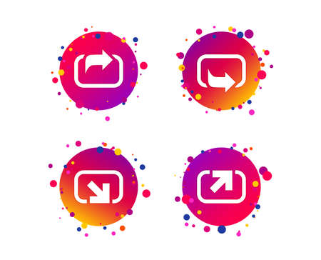 Action icons. Share symbols. Send forward arrow signs. Gradient circle buttons with icons. Random dots design. Vector Ilustracja