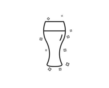 Beer glass line icon. Pub Craft beer sign. Brewery beverage symbol. Geometric shapes. Random cross elements. Linear Beer glass icon design. Vector  イラスト・ベクター素材