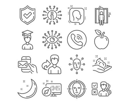 Set of Elevator, Face biometrics and Artificial intelligence icons. Face detect, Opinion and Messenger mail signs. Student, Head and Skin care symbols. Lift, Facial recognition, All-seeing eye