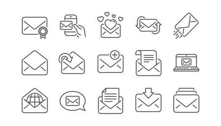 Iconos de línea de mensaje de correo. Newsletter, E-mail, Correspondencia. Conjunto de iconos lineales de comunicación. Vector Ilustración de vector