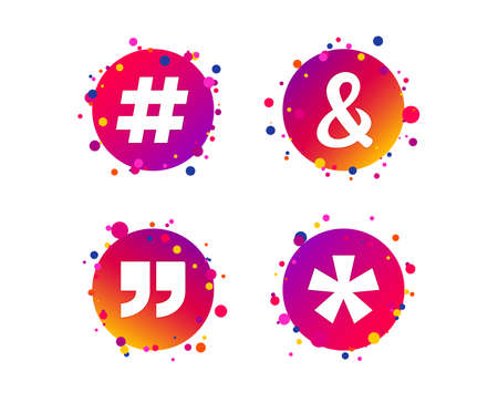Quote, asterisk footnote icons. Hashtag social media and ampersand symbols. Programming logical operator AND sign. Gradient circle buttons with icons. Random dots design. Vector Stock Illustratie