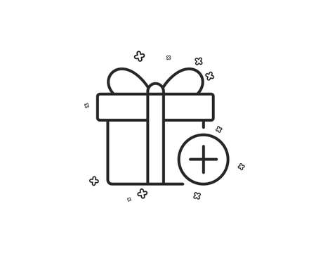 Add Gift box line icon. Present or Sale sign. Birthday Shopping symbol. Package in Gift Wrap. Geometric shapes. Random cross elements. Linear Add gift icon design. Vector