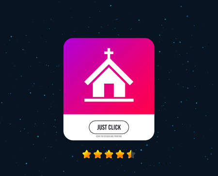 Church icon. Christian religion symbol. Chapel with cross on roof. Web or internet icon design. Rating stars. Just click button. Vector