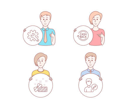 People hand drawn style. Set of Present, Cashback and Customisation icons. Edit person sign. Gift, Refund commission, Settings. Change user info.  Character hold circle button. Man with like hand Illustration