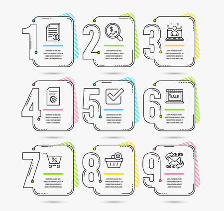 Infographic timeline set of Sale, Checkbox and Special offer icons. Delete order, Currency audit and Best manager signs. File settings, Financial documents and E-mail symbols
