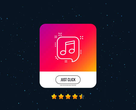 Musical note in speech bubble line icon. Music sign. Web or internet line icon design. Rating stars. Just click button. Vector Иллюстрация