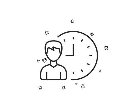 Business project deadline line icon. Working hours or Time management sign. Geometric shapes. Random cross elements. Linear Working hours icon design. Vector