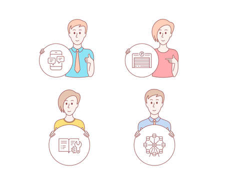 People hand drawn style. Set of Phone messages, Engineering documentation and Parking garage icons. Ferris wheel sign. Mobile chat, Manual, Automatic door. Attraction park. Vector Archivio Fotografico - 125561545