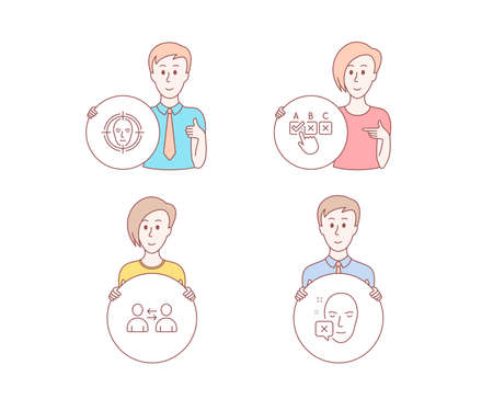 People hand drawn style. Set of Correct checkbox, Communication and Face detect icons. Face declined sign. Answer, Users talking, Select target. Identification error.  Character hold circle button Illustration
