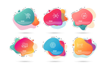Dynamic liquid shapes. Set of Column diagram, Add products and Dollar exchange icons. Update data sign. Sale statistics, Shopping cart, Payment. Sales statistics.  Gradient banners. Vector