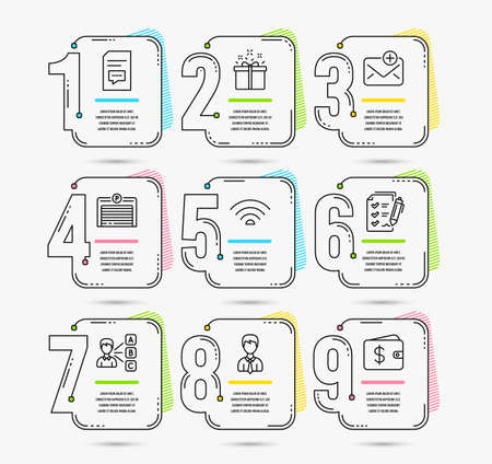 Infographic template with numbers 9 options. Set of Survey checklist, Wifi and Parking garage icons. Comments, Businessman and New mail signs. Opinion, Special offer and Dollar wallet symbols. Vector 写真素材 - 116303682