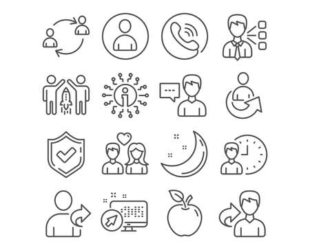 Set of Person talk, Avatar and Couple love icons. Third party, User communication and Working hours signs. Refer friend, Partnership and Share symbols. Vector