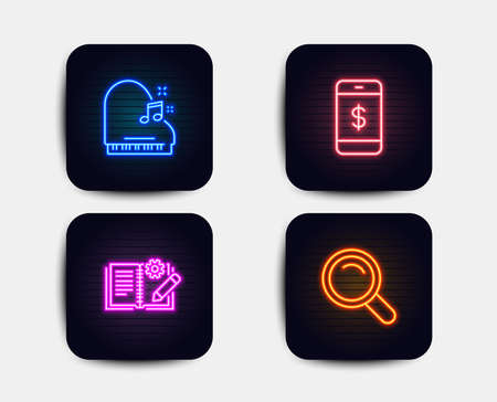 Neon set of Engineering documentation, Piano and Smartphone payment icons. Search sign. Manual, Fortepiano, Mobile pay. Magnifying glass. Neon icons. Glowing light banners. Vector Illustration