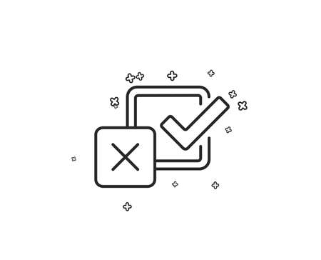 Checkbox line icon. Survey choice sign. Business review symbol. Geometric shapes. Random cross elements. Linear Checkbox icon design. Vector 向量圖像