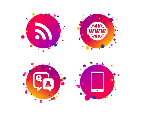 Question answer icon.  Smartphone and Q&A chat speech bubble symbols. RSS feed and internet globe signs. Communication Gradient circle buttons with icons. Random dots design. Vector Illustration